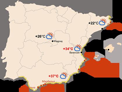 Карта побережий Испании